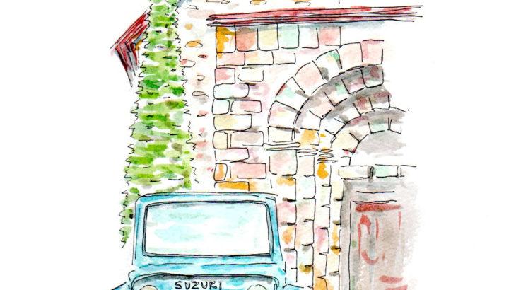 フランス南西部のどこかの教会とLJ20ジムニー スマホ待ち受け画像もつくりました