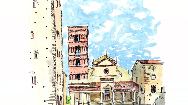 【大人の塗り絵 無料】バーチャル旅行 イタリア・テッラチーナの街角
