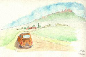 Agello フィアット500 トスカーナの小さな町