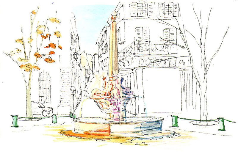 【大人のぬり絵 無料】秋の風景 南仏プロバンスの泉 その1