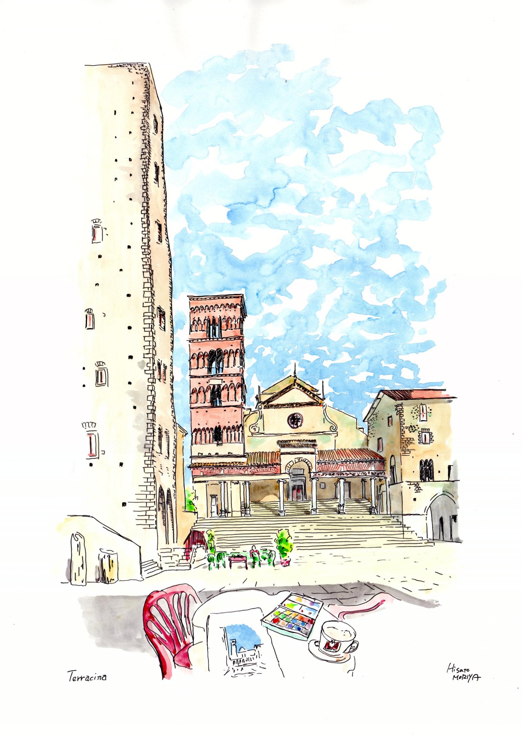 【大人のぬり絵 無料】バーチャル旅行 イタリア・テッラチーナの街角